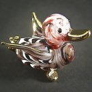 Hand Blown Glass Red Duck Gilt Art Glass Animal Figurines Thai Gifts