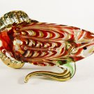 Hand Blown Glass Red-White-Green Catfish Gilt Art Glass Animal Figurines Thai Gifts