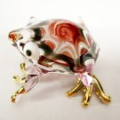 Hand Blown Glass Red-Pink Frog Gilt Art Glass Animal Figurines Thai Gifts