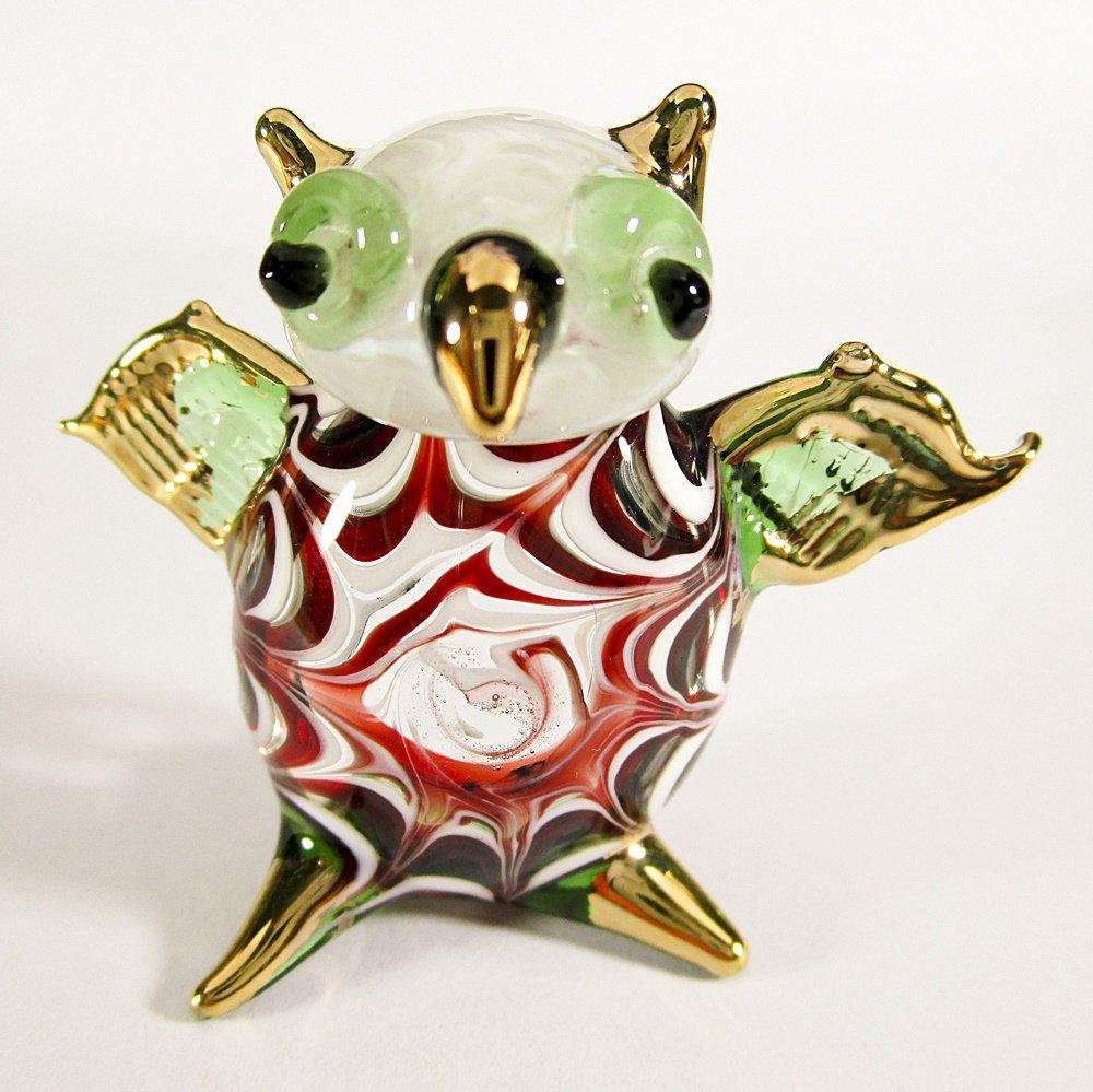 Hand Blown Glass Red-Green Owl Gilt Art Glass Animal Figurines Thai Gifts