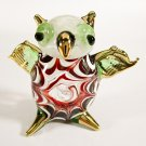 Hand Blown Glass Red-Green Owl Gilt Art Glass Animal Figurines Thai Gifts