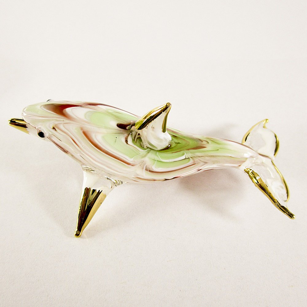 Hand Blown Glass Red-Green Dolphin Fish Art Glass Animal Figurines Thai Gifts