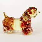 Hand Blown Glass Red Poodle Dog Gilt Art Glass Animal Figurines Thai Gifts