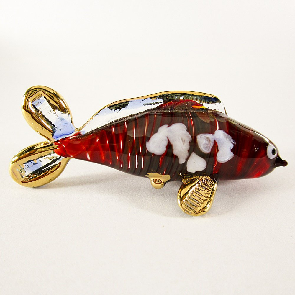 Hand Blown Glass Red-Blue Carp (Koi) Fish Gilt #2 Art Glass Animal Figurines Thai Gifts