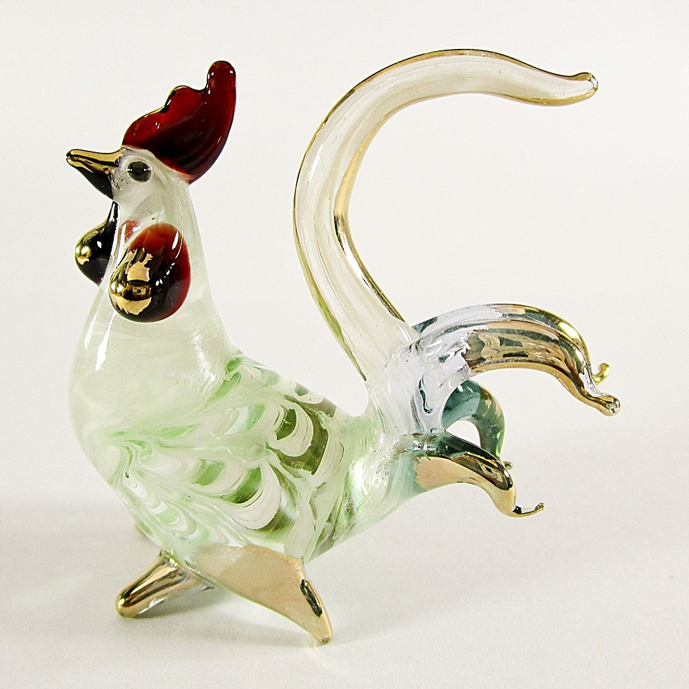 Hand Blown Glass Green-Blue Rooster Gilt Art Glass Animal Figurines Thai Gifts