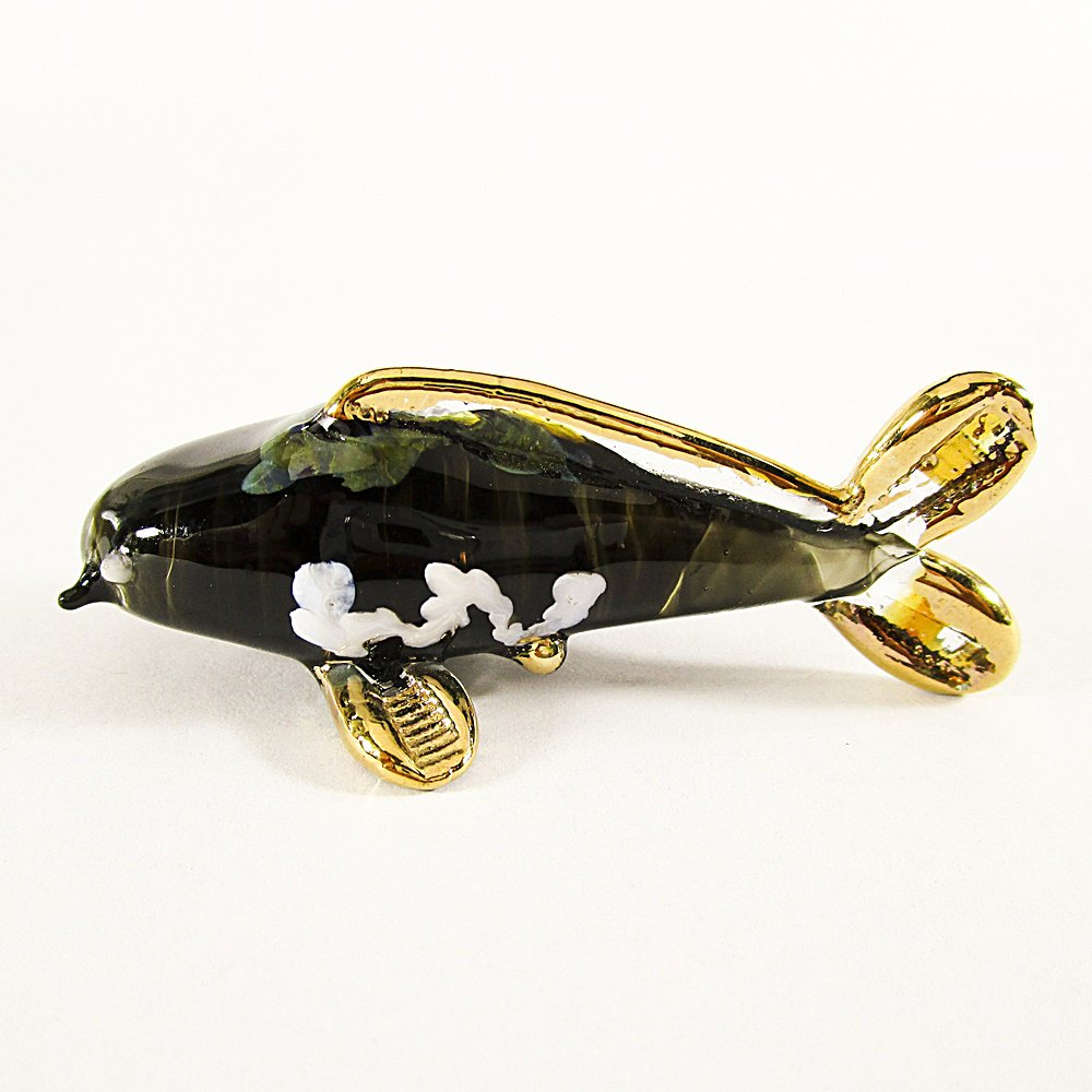 Hand Blown Glass Black Carp (Koi) Fish Gilt Art Glass Animal Figurines Thai Gifts