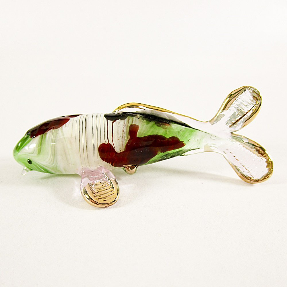 Hand Blown Glass Green-Red-Pink Carp (Koi) Fish Gilt