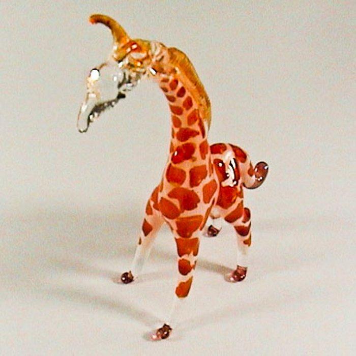 Hand Blown Glass Orange Giraffe 2 Miniature Glass Animal Figurines Thai Gifts