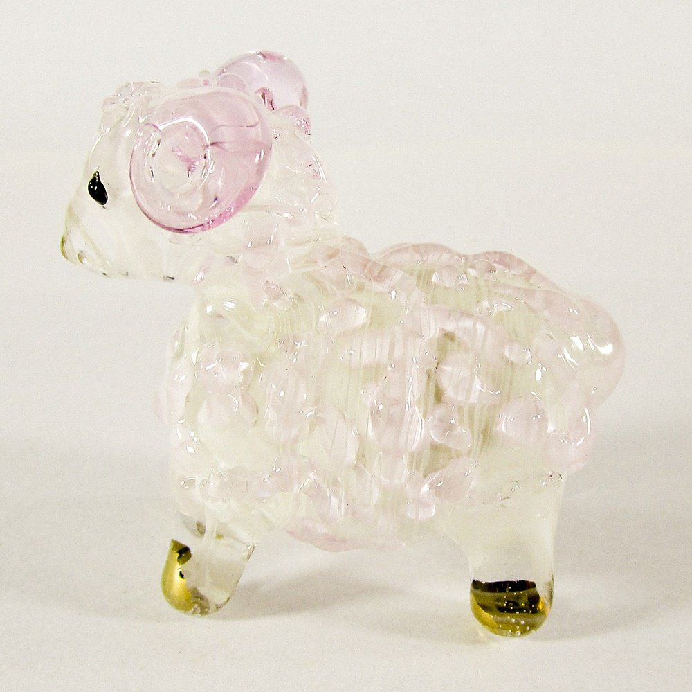 Hand Blown Glass Pink Sheep Gilt Miniature Glass Animal Figurines Thai Gifts