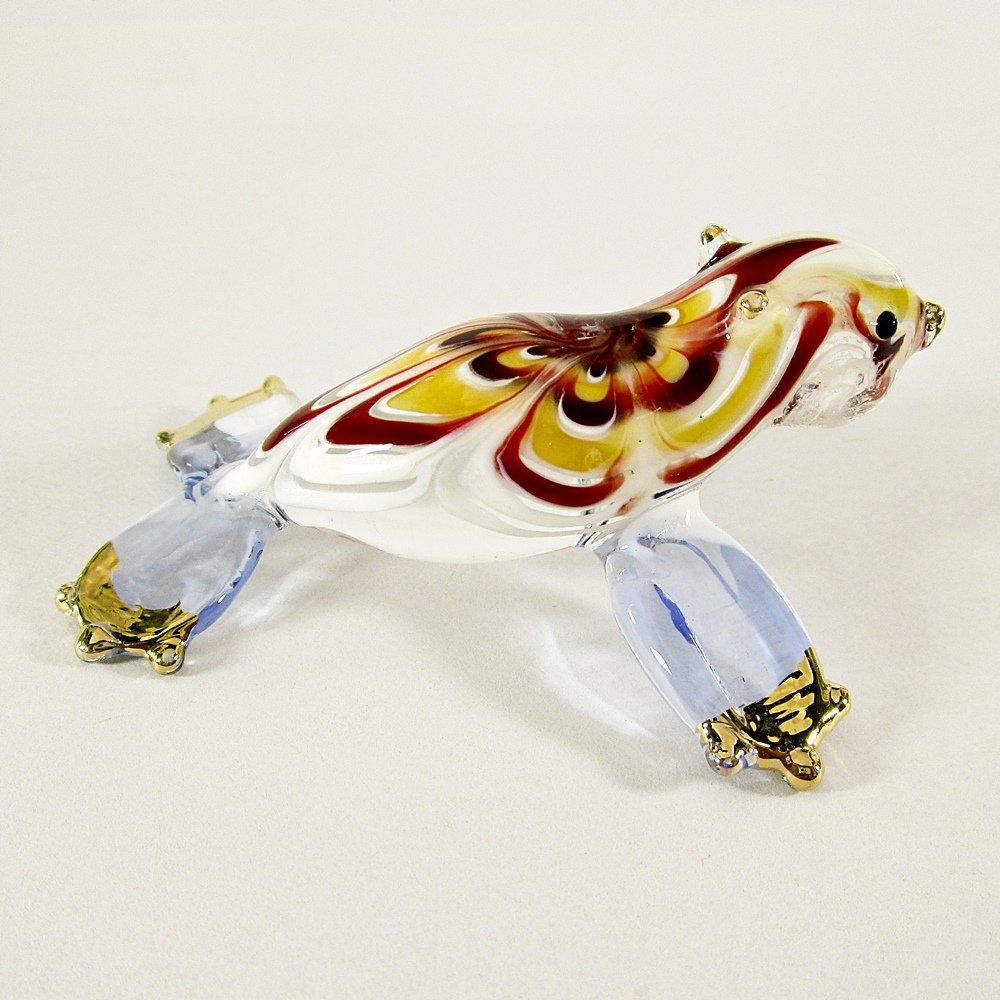 Hand Blown Glass Red-Yellow-Blue Seal (Sea Lion) Gilt Art Glass Animal Figurines Thai Gifts