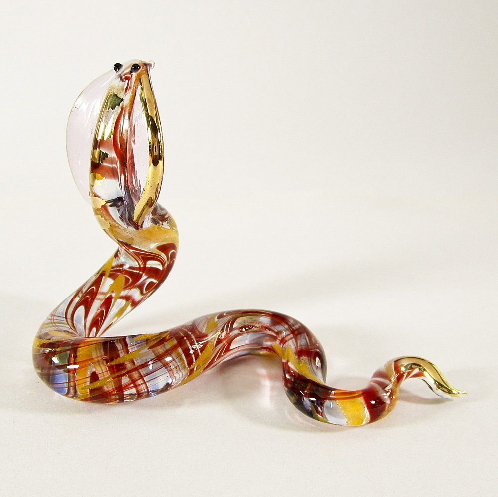 Hand Blown Glass Red-Yellow Snake Gilt Art Glass Animal Figurines Thai Gifts