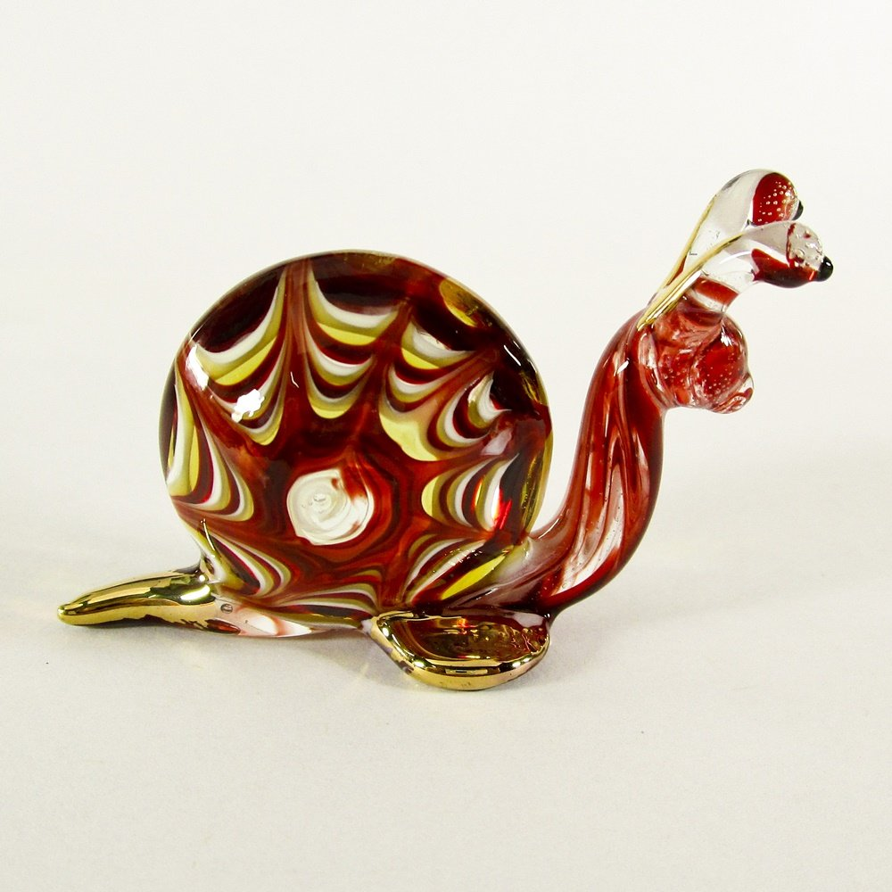 Hand Blown Glass Red-Yellow Snail Gilt #2 Art Glass Animal Figurines Thai Gifts
