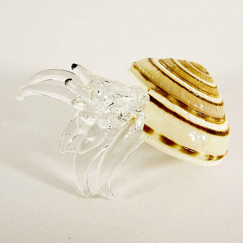 Hand Blown Clear Glass Shell Type 2 Art Glass Animal Figurines Thai Gifts