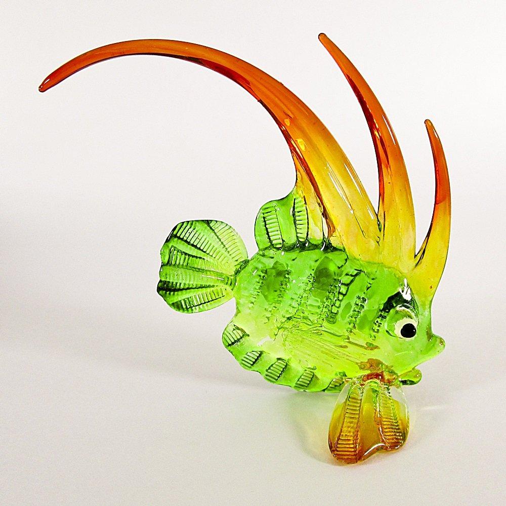 Hand Blown Glass Green-Yellow-Orange Fish Art Glass Animal Figurines Thai Gifts