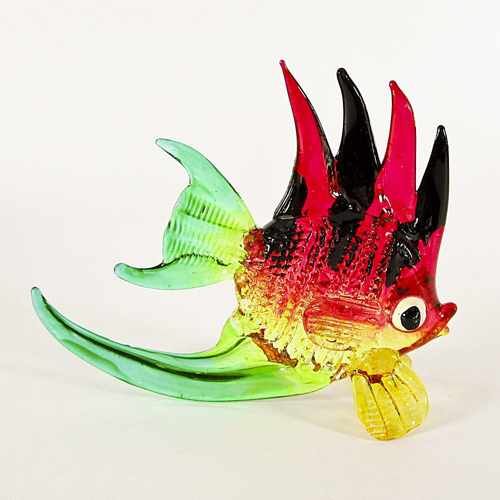 Hand Blown Glass Red-Yellow-Black-Green Fish Art Glass Animal Figurines Thai Gifts