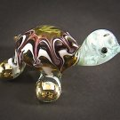 Hand Blown Glass Red-Green Turtle Gilt #2 Art Glass Animal Figurines Thai Gifts