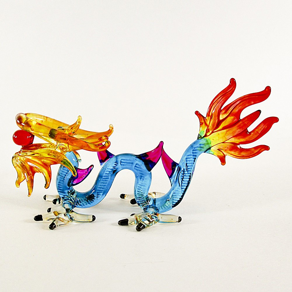 Hand Blown Glass Dragon Colorful Art Glass Animal Figurines Thai Gifts