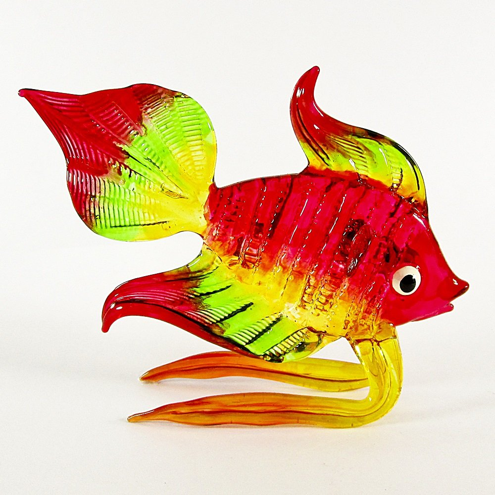 Hand Blown Glass Red-Green-Yellow Fish