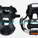 Fixed Gear Bike Alloy Alum Pedals with + Toe Clip + Straps Set