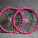 Pink Leopard Fixed Gear bike Wheel Rim Stickers (for 1 wheel)