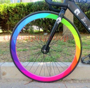 Fixie Fixed gear bike wheel rim Stickers rainbow (for 1 wheel)