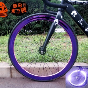 Fixie Bike Wheel Rim Stickers Reflect Light Purple (For 1 Wheel)