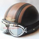 half face scooter motorcycle PU leather helmet goggle Brown Cros