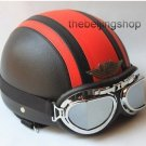 half face Red Cross Black vintage motorcycle helmet w/ goggle