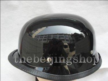 Gloss Black German Style Motorcycle Half Helmet