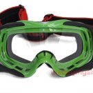 Motorcycle Dirt Bike Goggles w/ silicone back (Green)