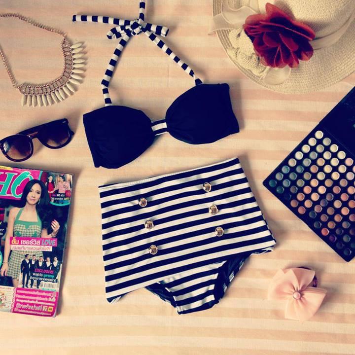 Vintage Retro Pin Up Black Stripes High Waist Bikini Swimsuit Swimwear