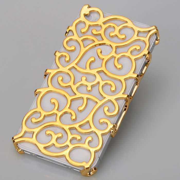 (GOLD) Phone Case for iPhone 4/4s elastic flower plating hard plastic