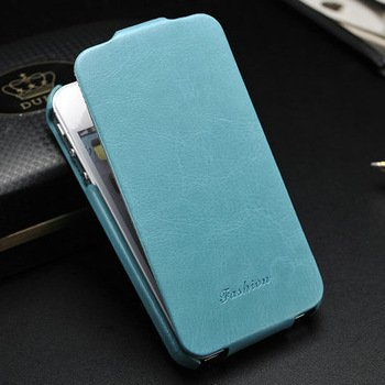 Luxury Retro PU Leather iPhone 5 Case Cover (BLUE)