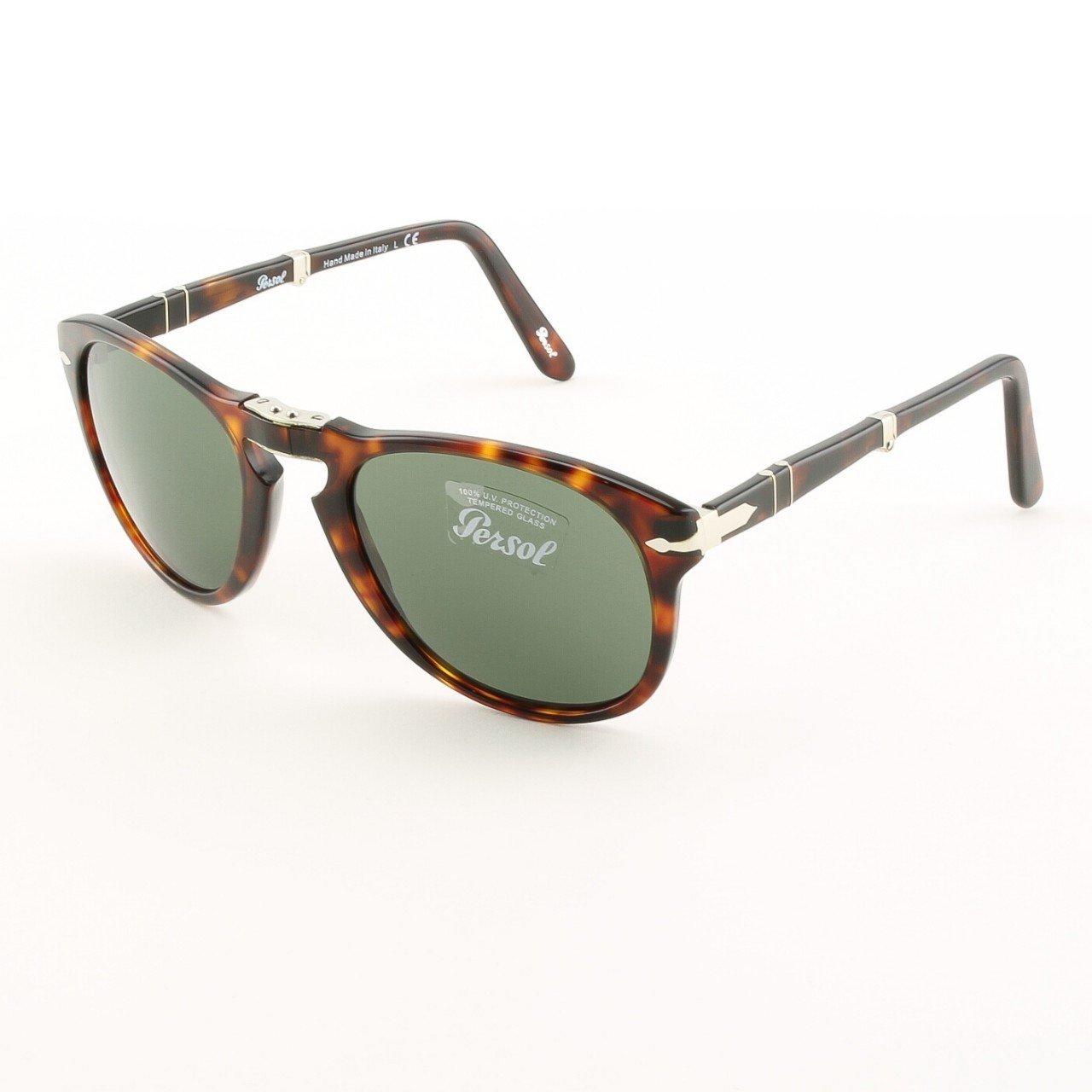 Persol PO0714 24/31 54mm Sunglasses Havana w/ Green Grey Crystal Lenses 714 NWT