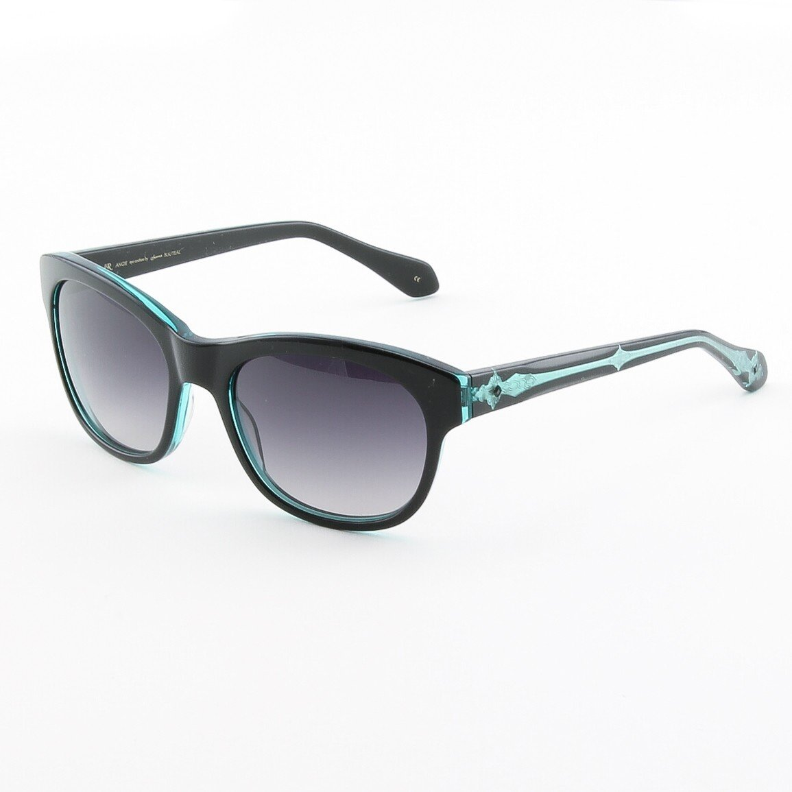 Loree Rodkin Angie Sunglasses Black and Teal w/ Rose Gradient Lenses and Swarovski Crystals