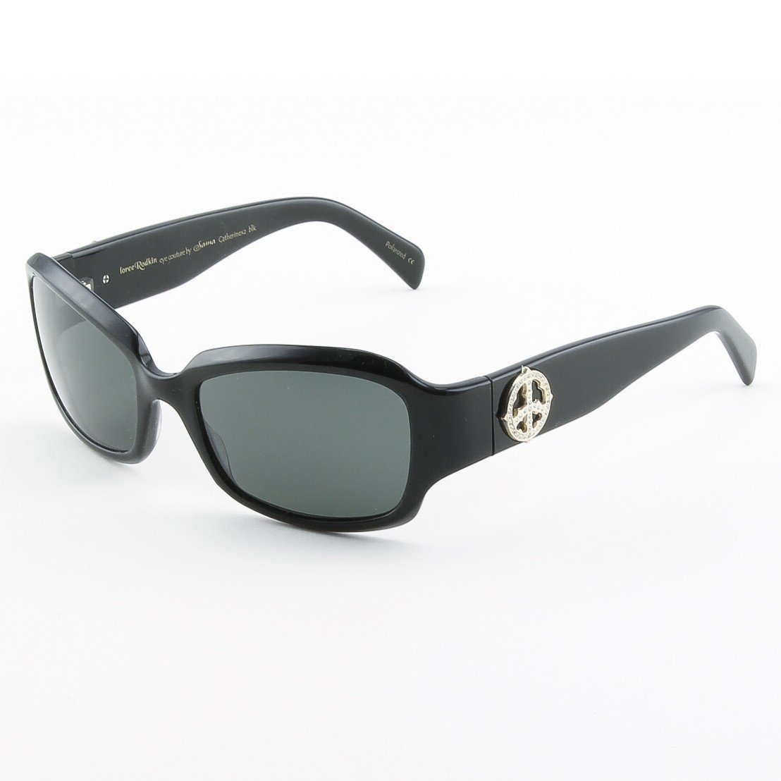 Loree Rodkin Catherine Sunglasses Black w/ Dark Gray Lenses, Sterling Silver, Swarovski Crystals