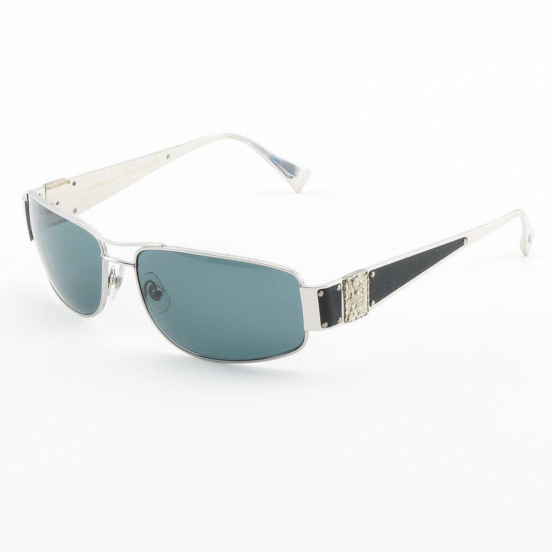 Loree Rodkin Chad Sunglasses by Sama Col. Platinum with Gray Lenses, Leather and Sterling Silver