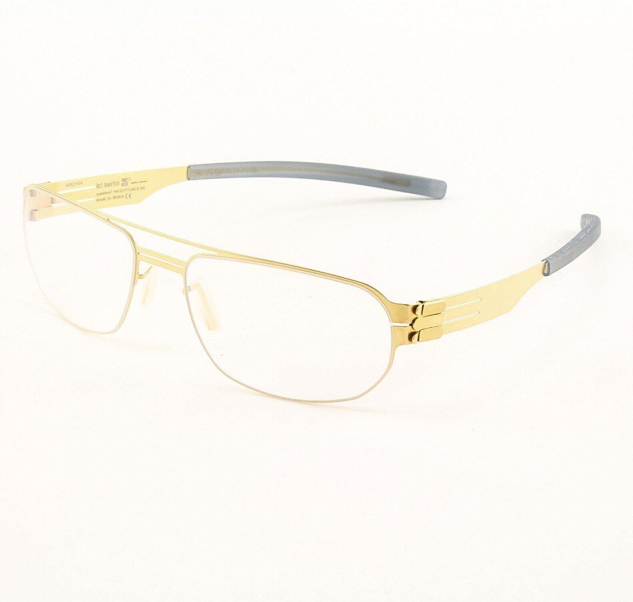 ic! Berlin Oleg P. Eyeglasses Col. matt Gold with Clear Lenses