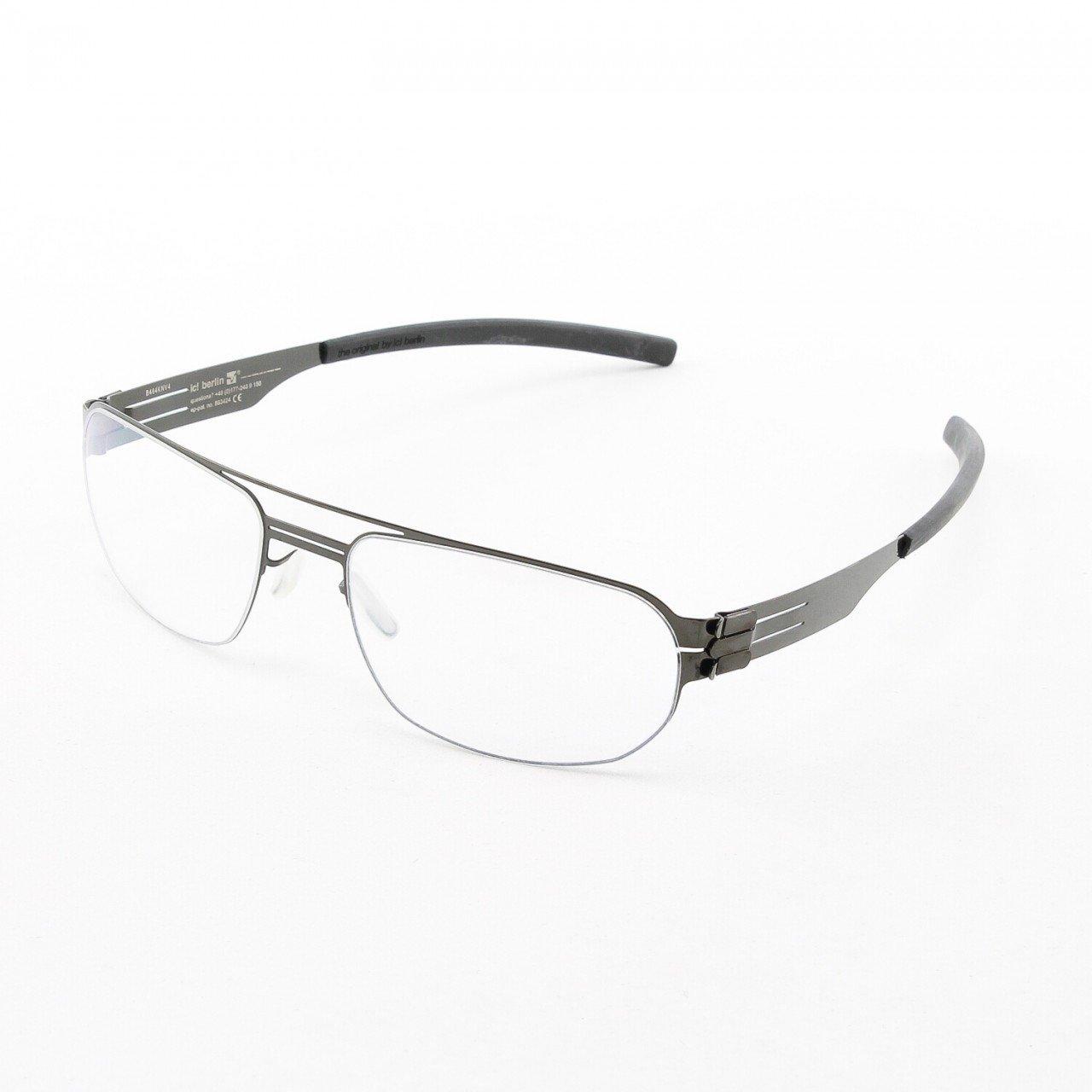 ic! Berlin Oleg P. Eyeglasses Col. Gun Metal with Clear Lenses