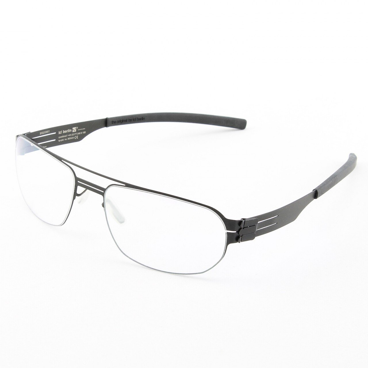 ic! Berlin Oleg P. Eyeglasses Col. Black with Clear Lenses