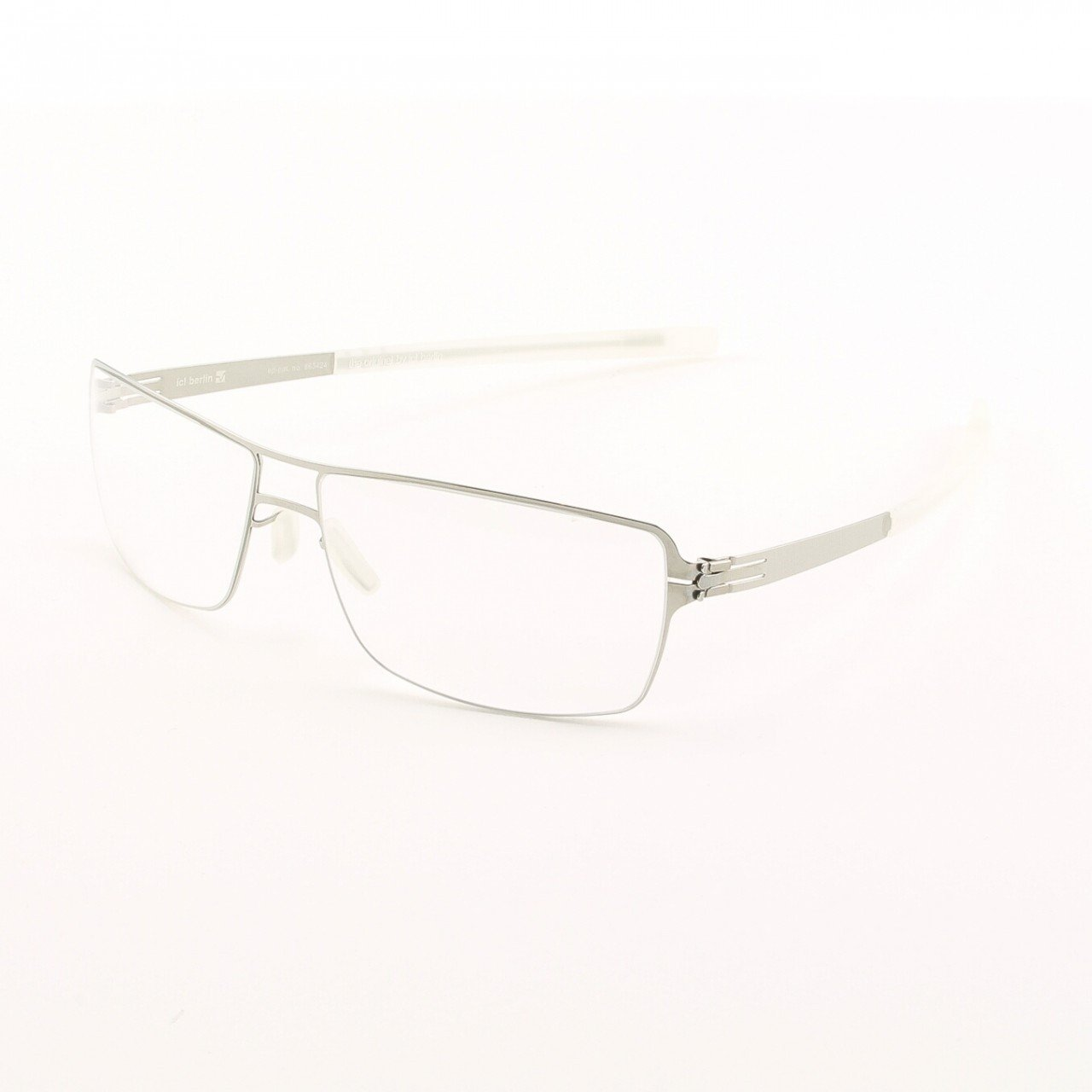 ic! Berlin Duke Eyeglasses Col. Chrome with Clear Lenses