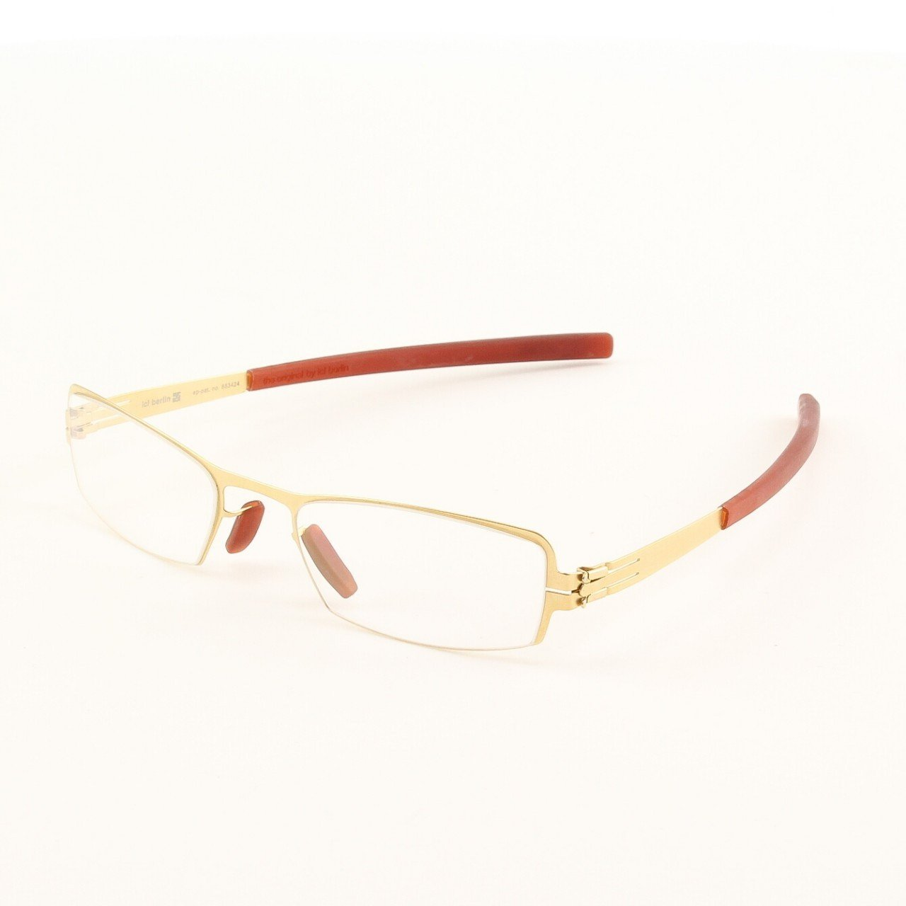 ic! Berlin Ike Eyeglasses Col. Gold with Clear Lenses