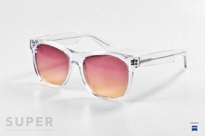 RETROSUPERFUTURE Classic Transparent Black w/ Pink Lenses 206 SUPER SUNGLASSES