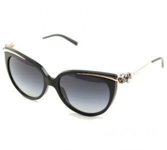 BULGARI BV8089K 51953C Black & 24KT Gold Plated Sunglasses with Polarized Grey Gradient Lenses 54mm