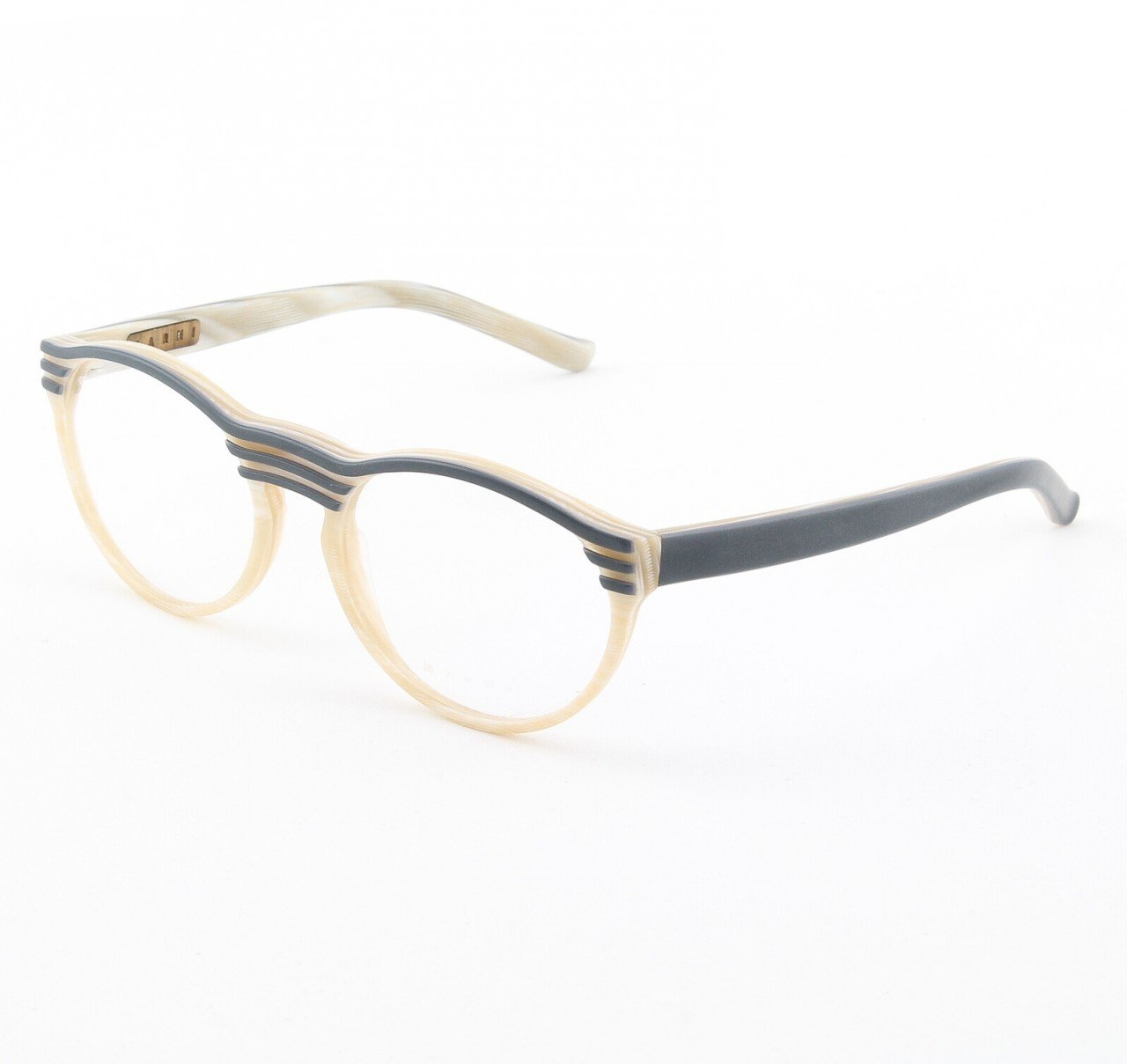 Marni MA688 Eyeglasses Col. 02 Marbelized Cream Frame with Slate Gray Accents and Clear Lenses