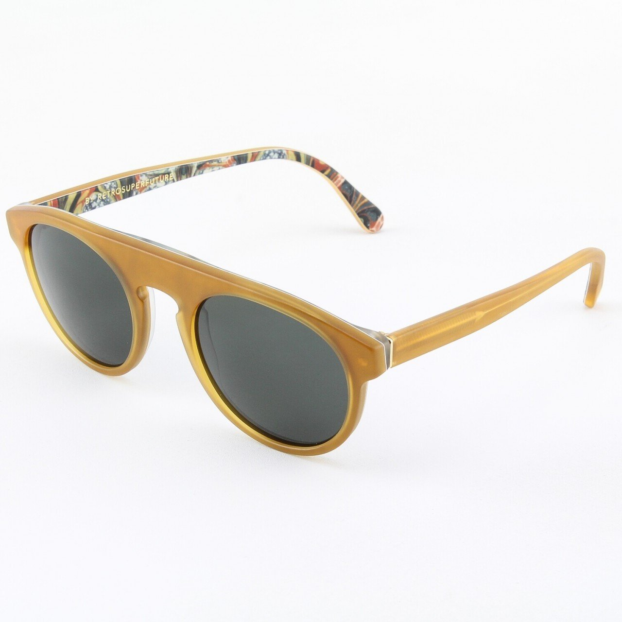 Super Racer 941/3T Sunglasses Ochre Color Pattern with Black Zeiss Lenses by RETROSUPERFUTURE