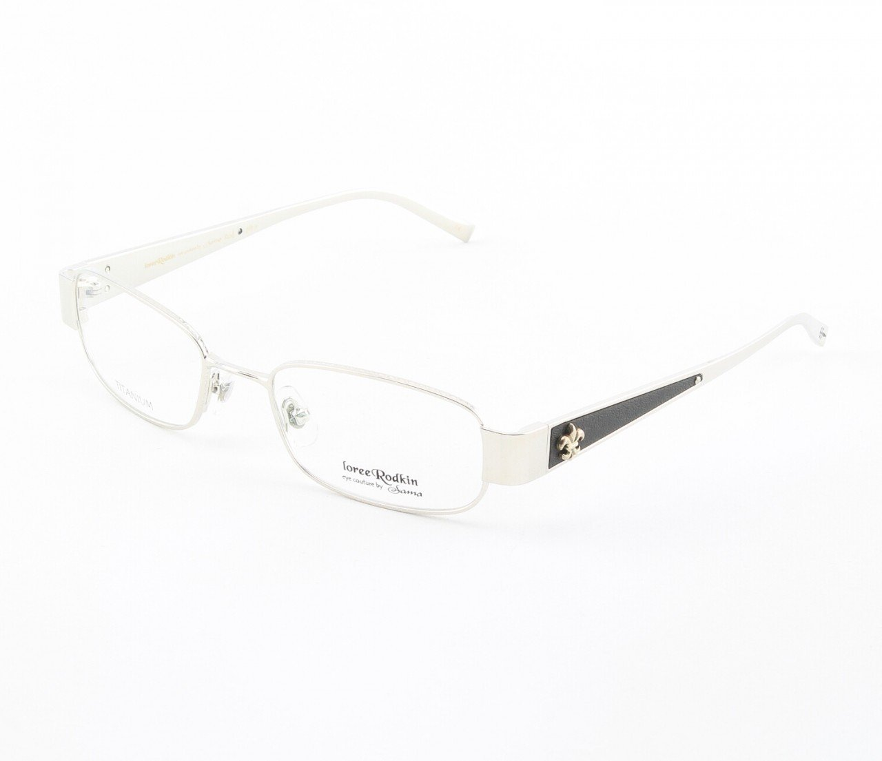 Loree Rodkin Rod Eyeglasses by Sama Col. Platinum with Clear Lenses, Leather and Sterling Silver