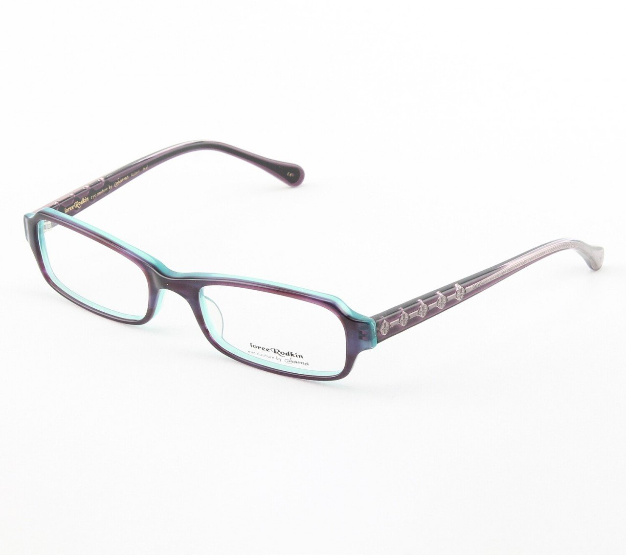 Loree Rodkin Robert Eyeglasses by Sama Col. Teal with Clear Lenses and Decorative Temple Core