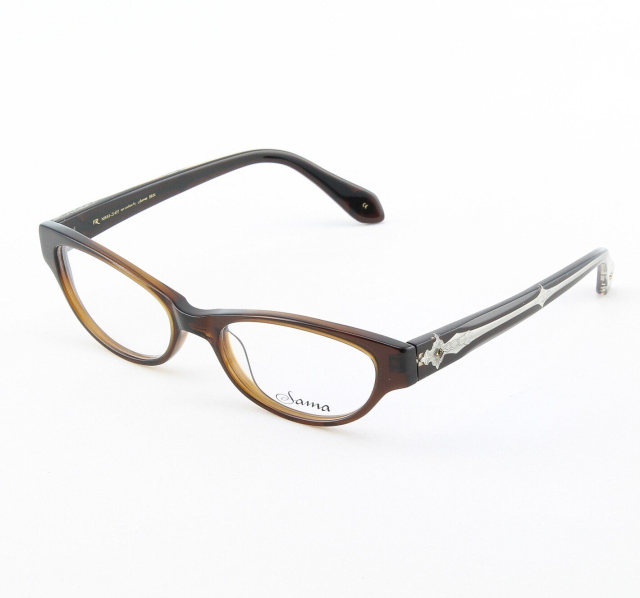 Loree Rodkin Nikki Eyeglasses Brown w/ Clear Lenses, Swarovski Crystals and Decorative Temple Core