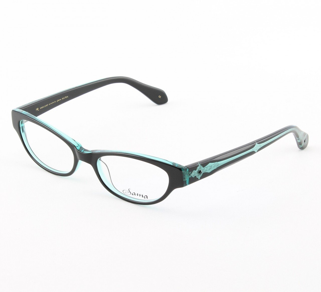 Loree Rodkin Nikki Eyeglasses Black/Teal w/ Swarovski Crystals, Decorative Temple Core